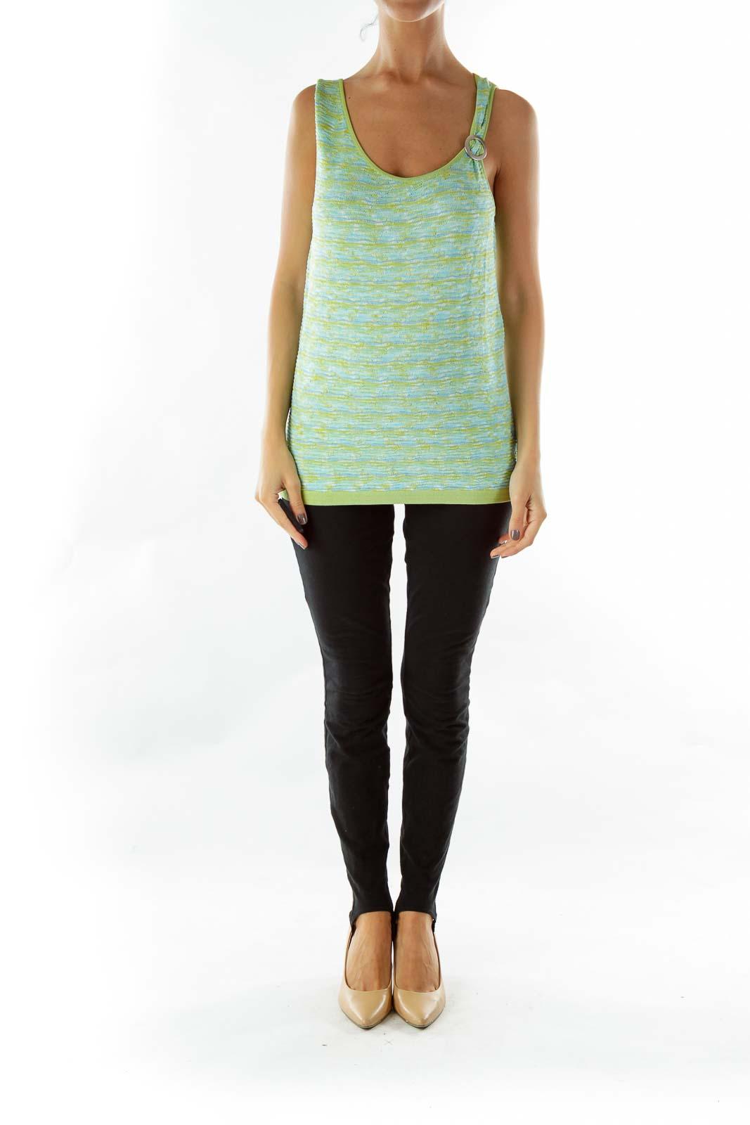 Green Blue Knit Top
