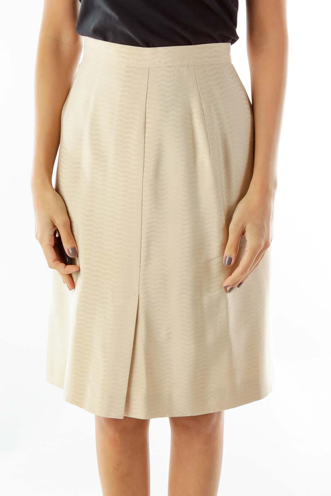 Beige Designer Pencil Skirt