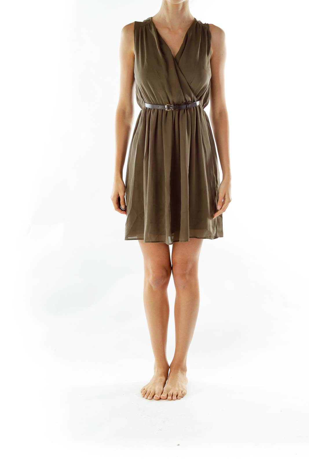 Green Flared Belted Dress