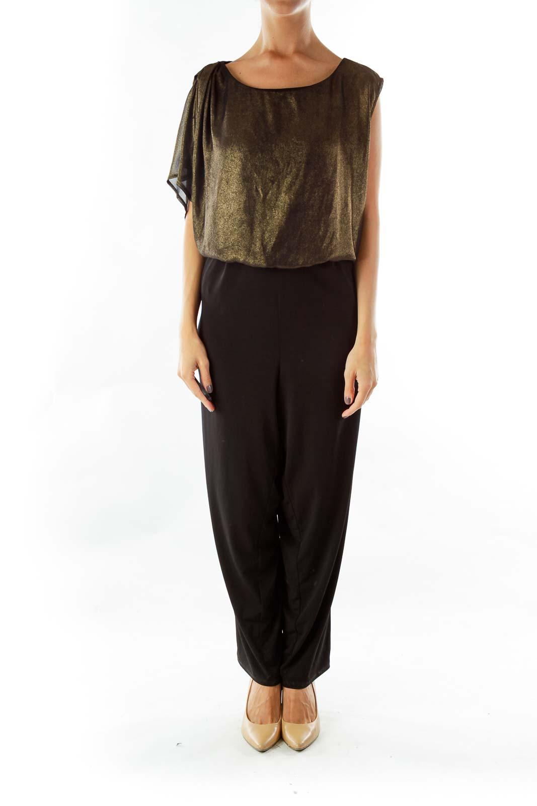 Black Gold Shimmery Pocketed Jumpsuit