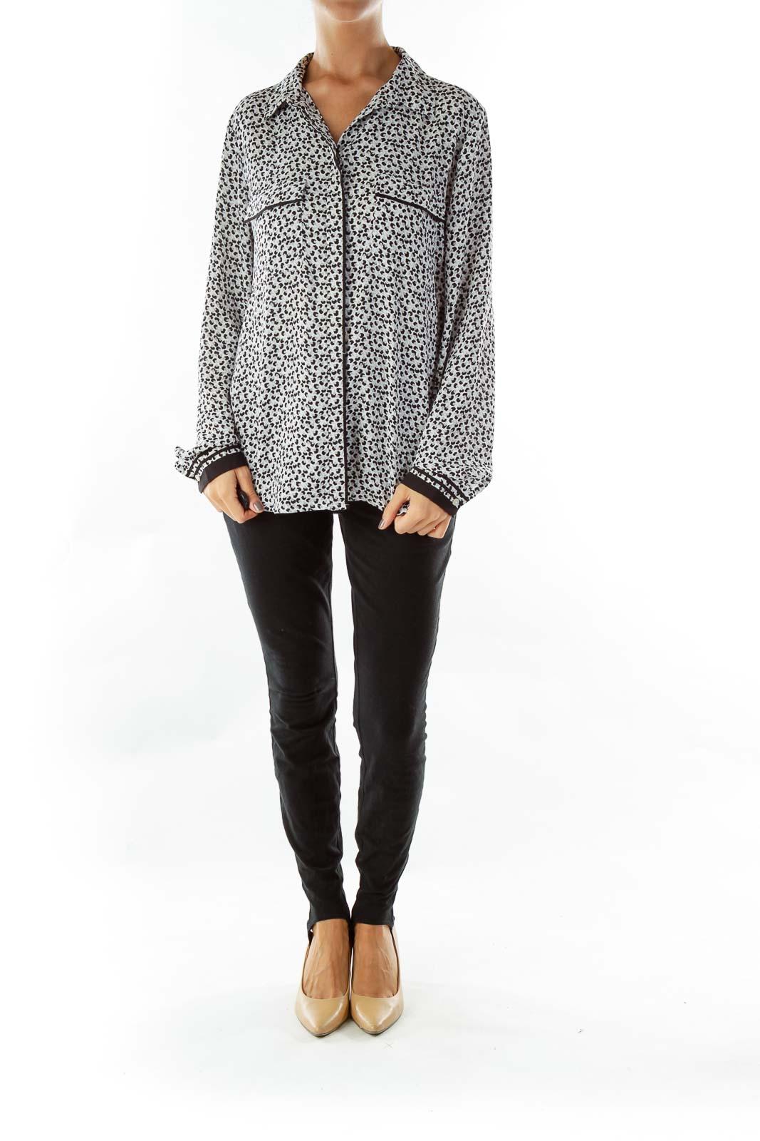 Black Gray Floral Print Shirt
