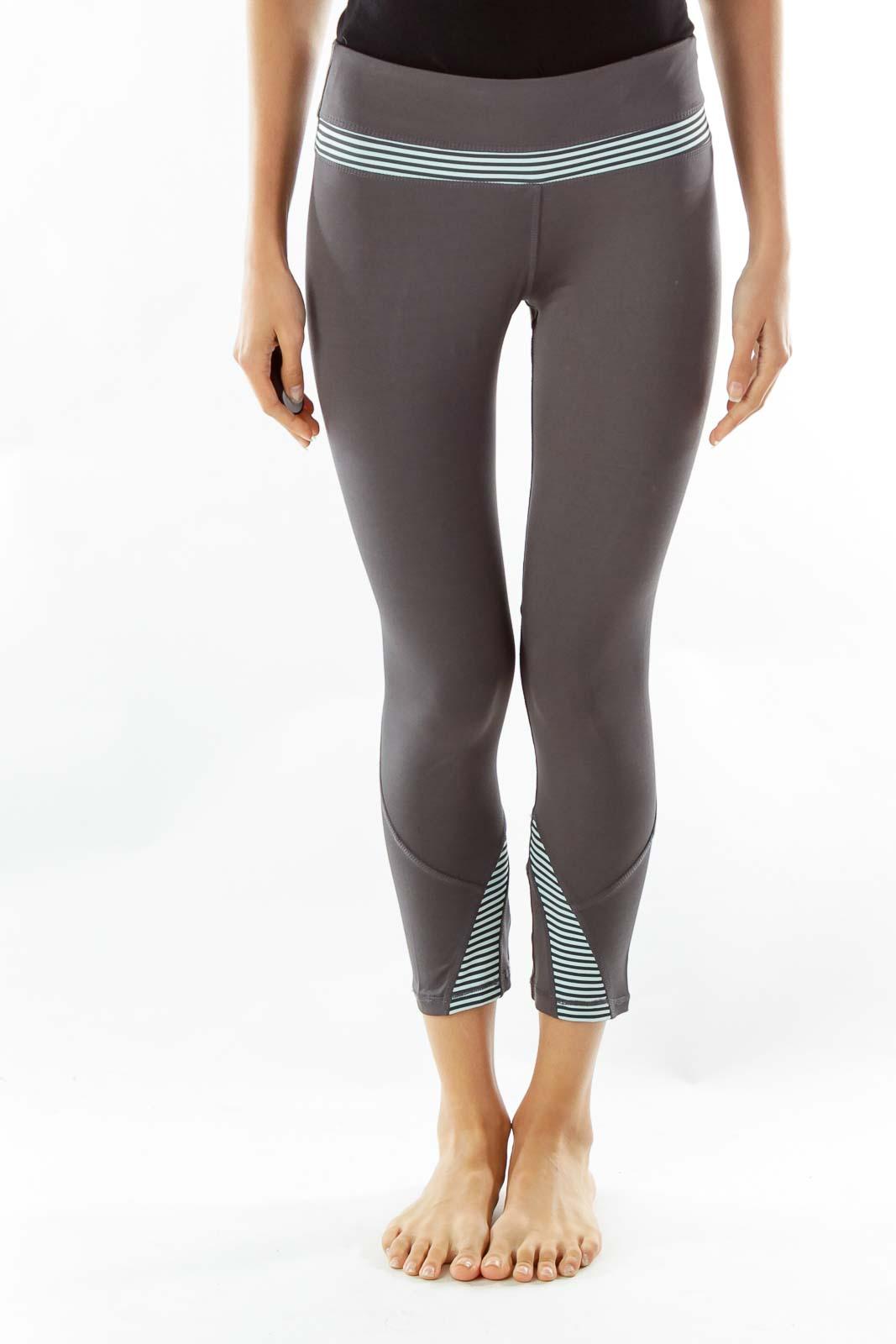 Gray Blue Striped Leggings
