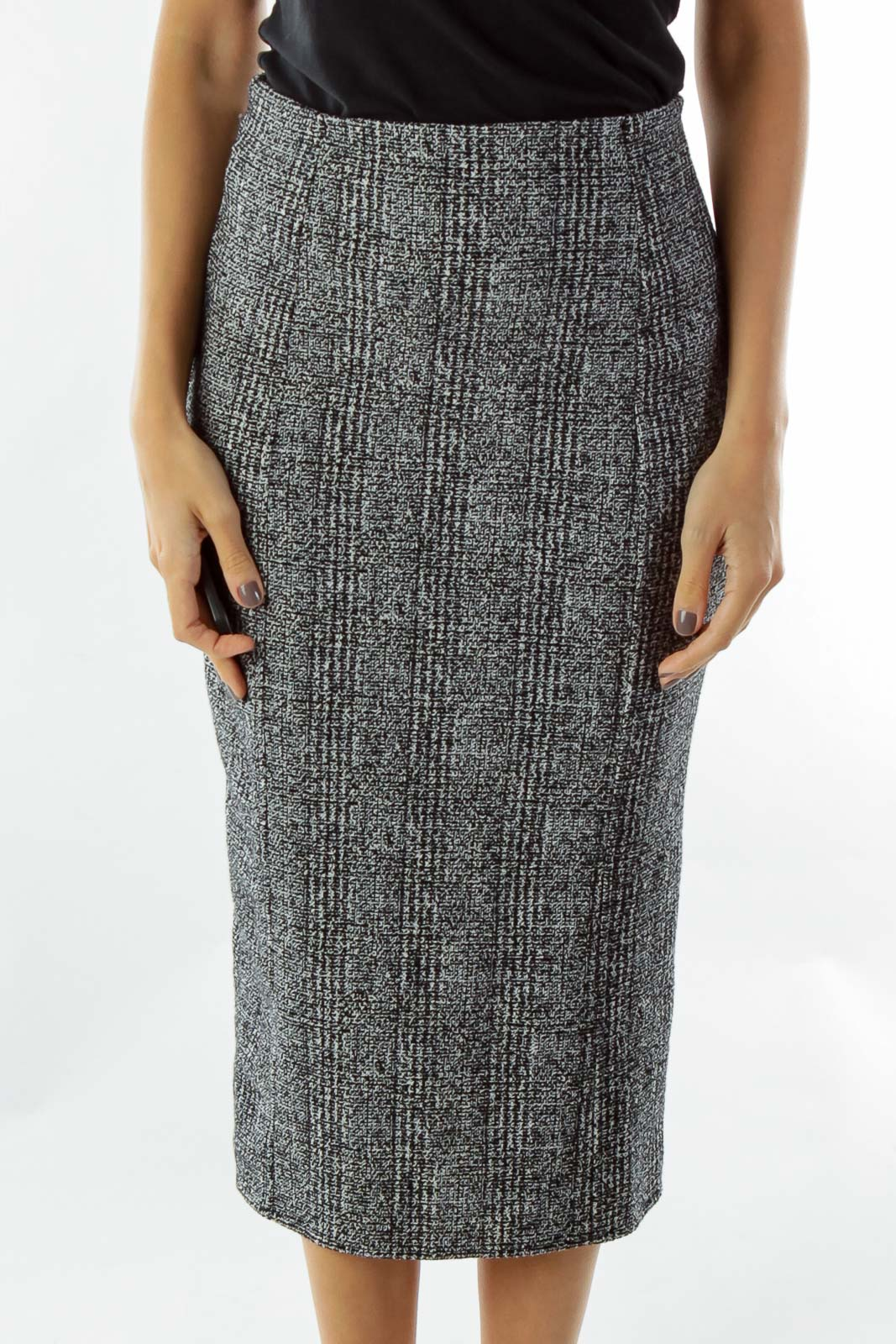 Black White Tweed Pencil Skirt