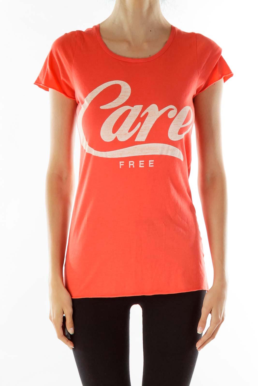 Orange Care Free Print T-shirt