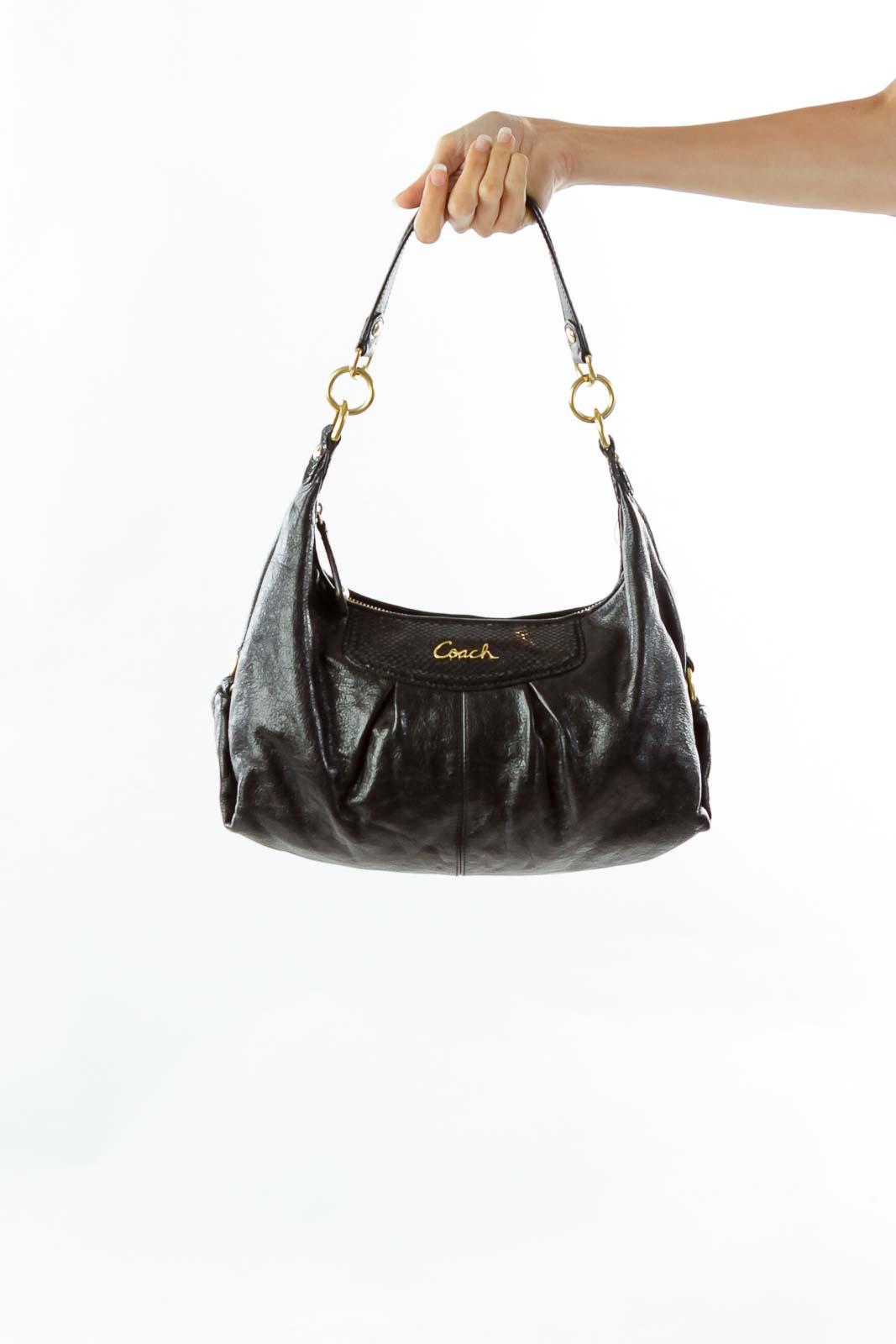 Black Snake Skin Shoulder Bag