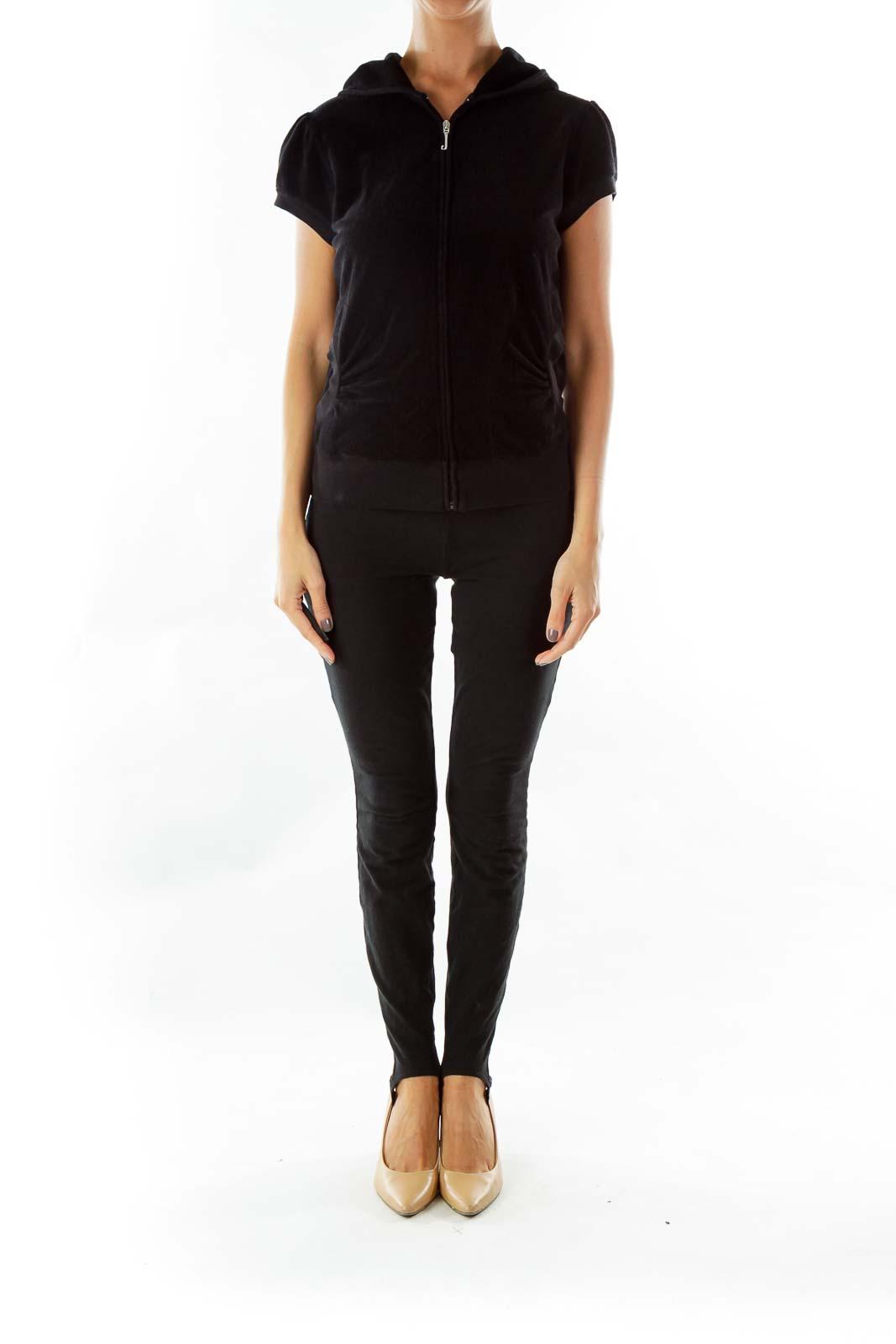 Black Hooded Short-Sleeve Jacket