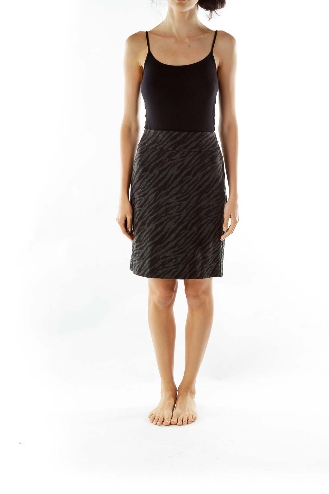 Gray Black Animal Print Pencil Skirt