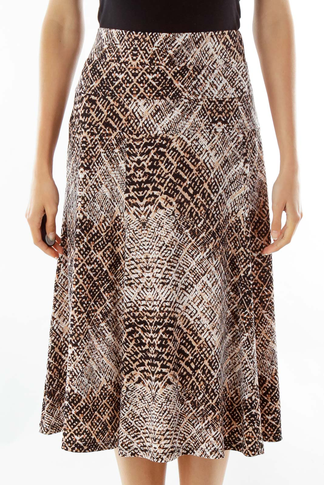Black White Brown Print Maxi Skirt