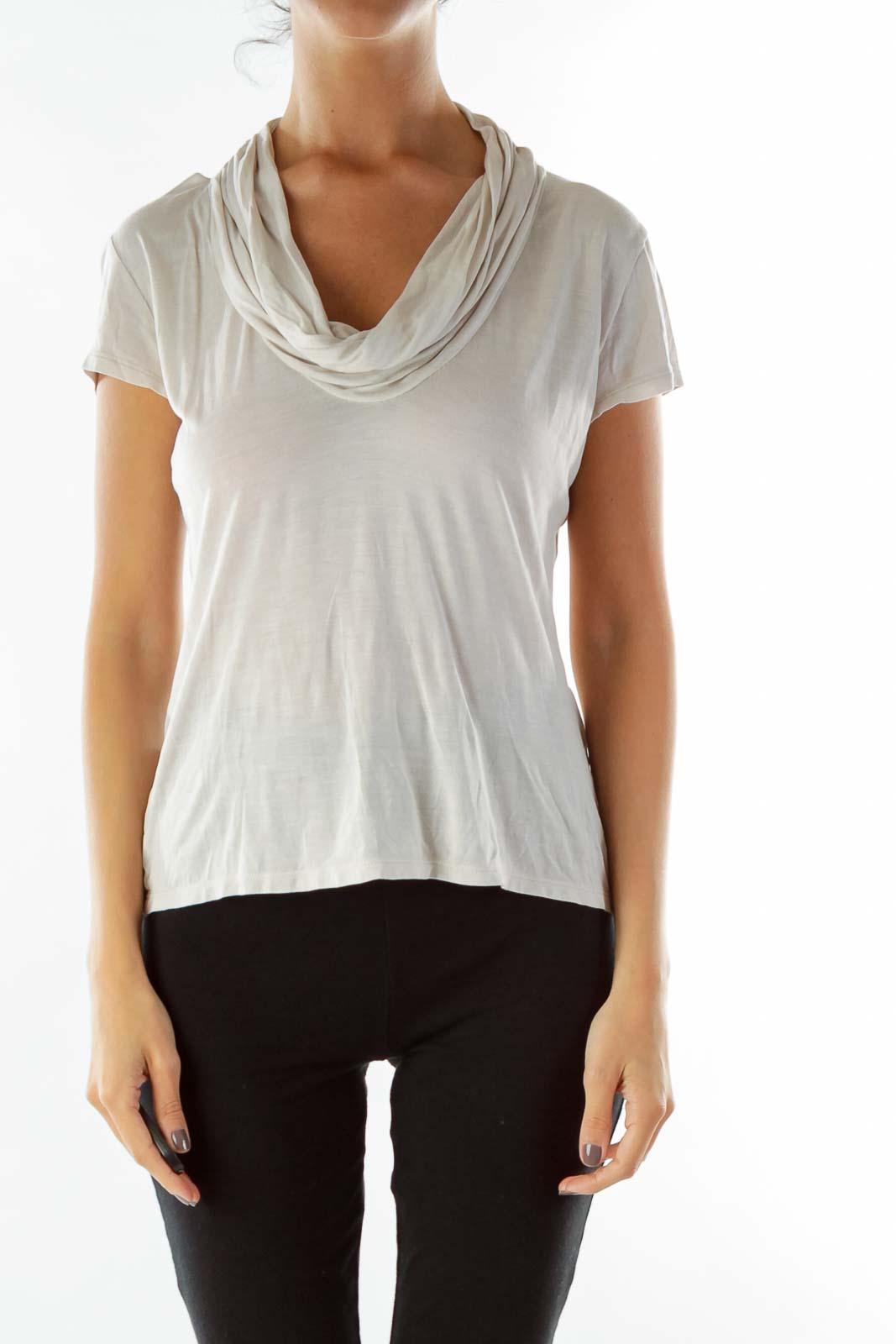 Cream Loose Cowl Neck T-Shirt