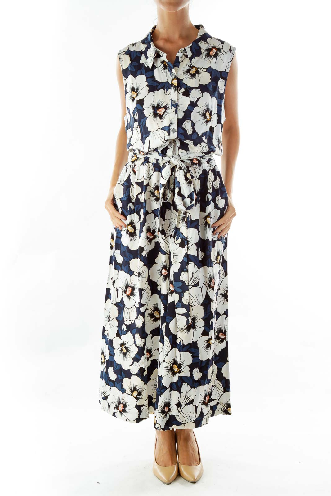 White Blue Flower Print Cropped Jumpsuit