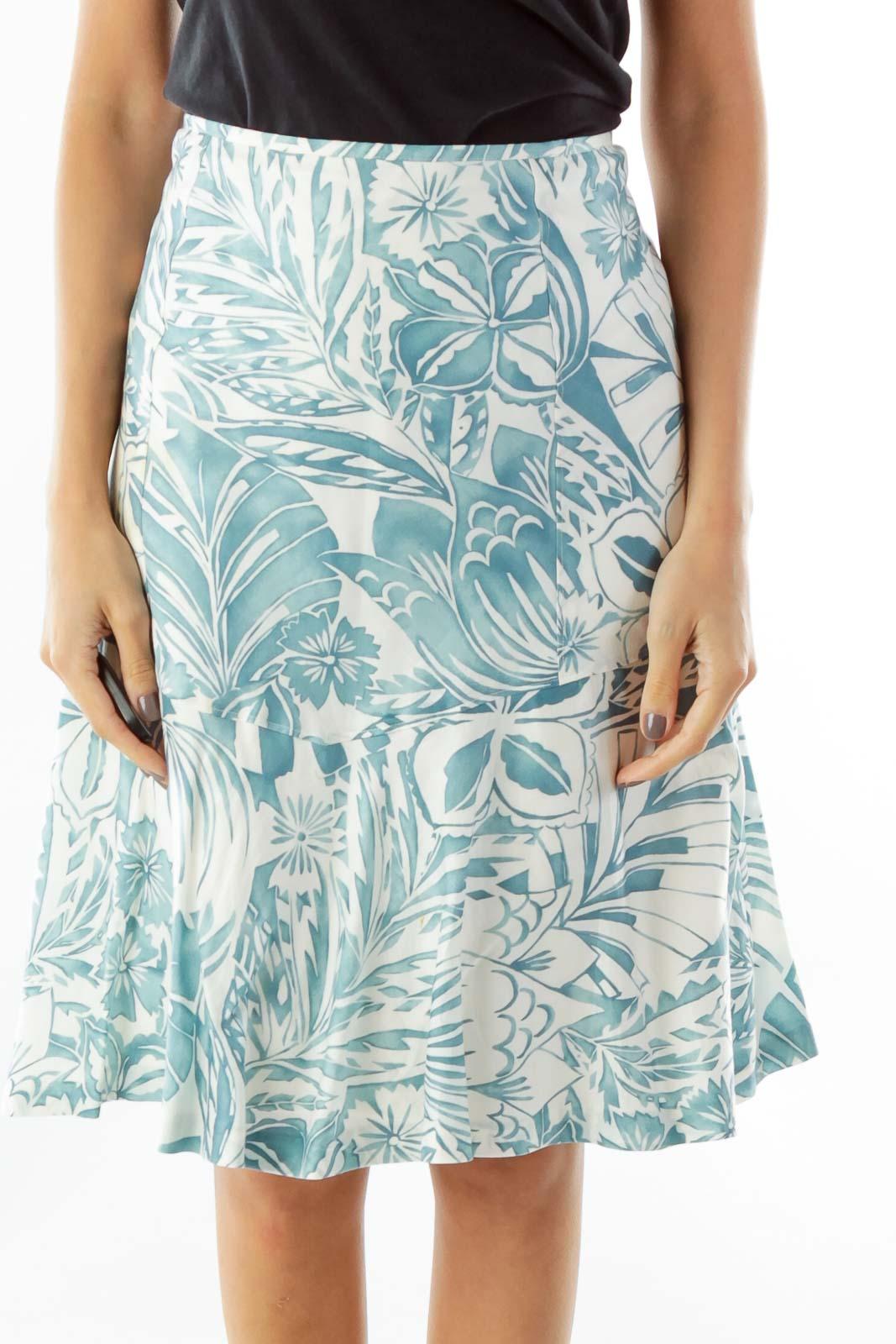 Blue White Print A-Line Skirt