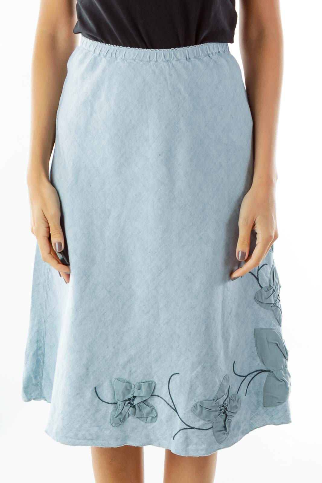Blue Flower Embroidered Linen Petite Skirt