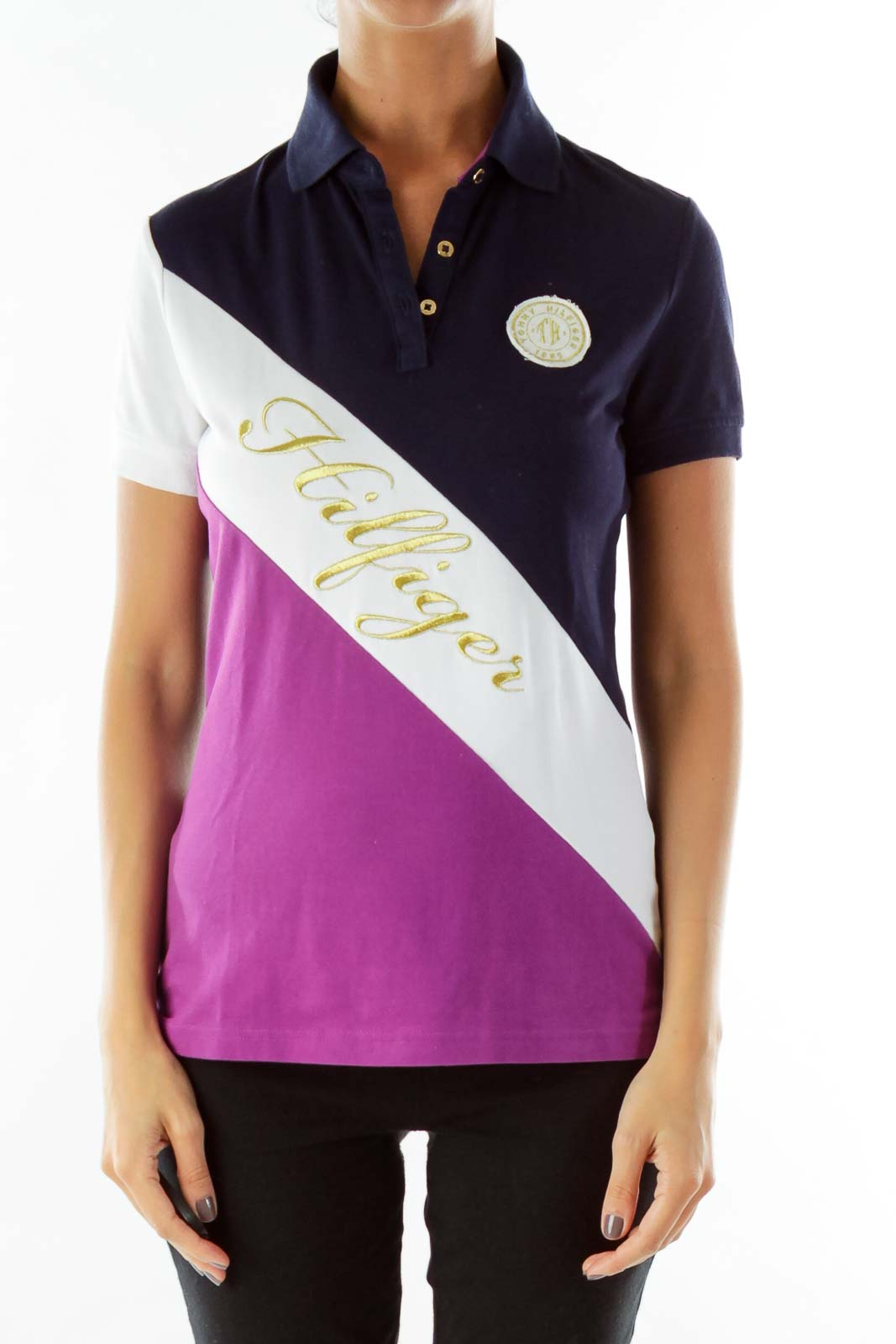 Navy Purple Gold Monogrammed Polo Shirt