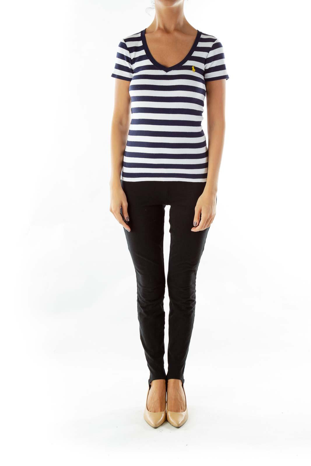 Navy White Striped V-Neck T-Shirt