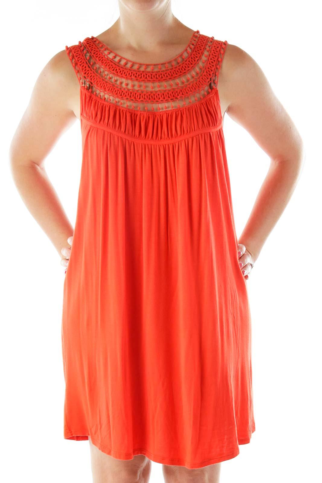 Orange Crocheted Day Dress
