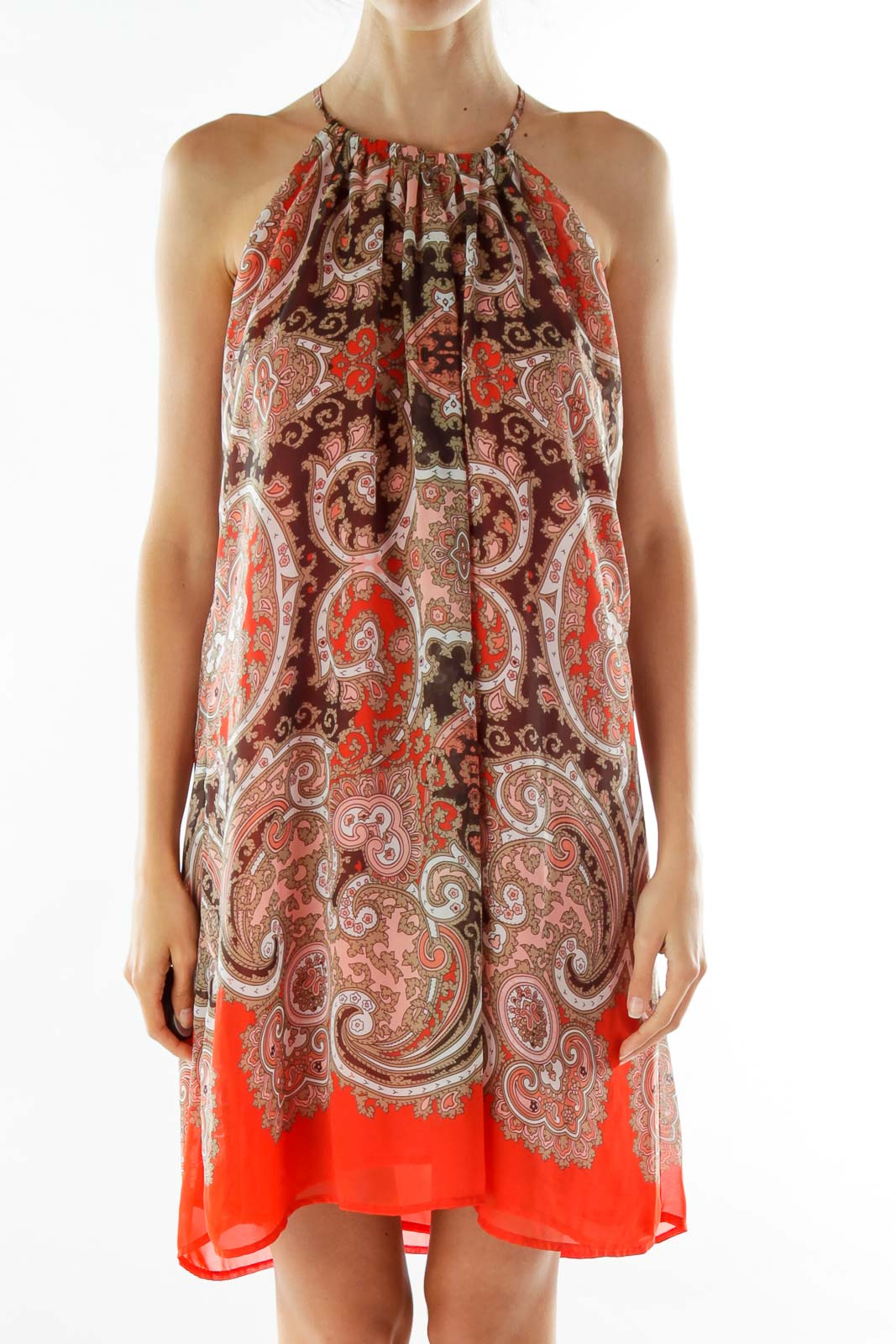 Red Brown Sleeveless Print Day Dress