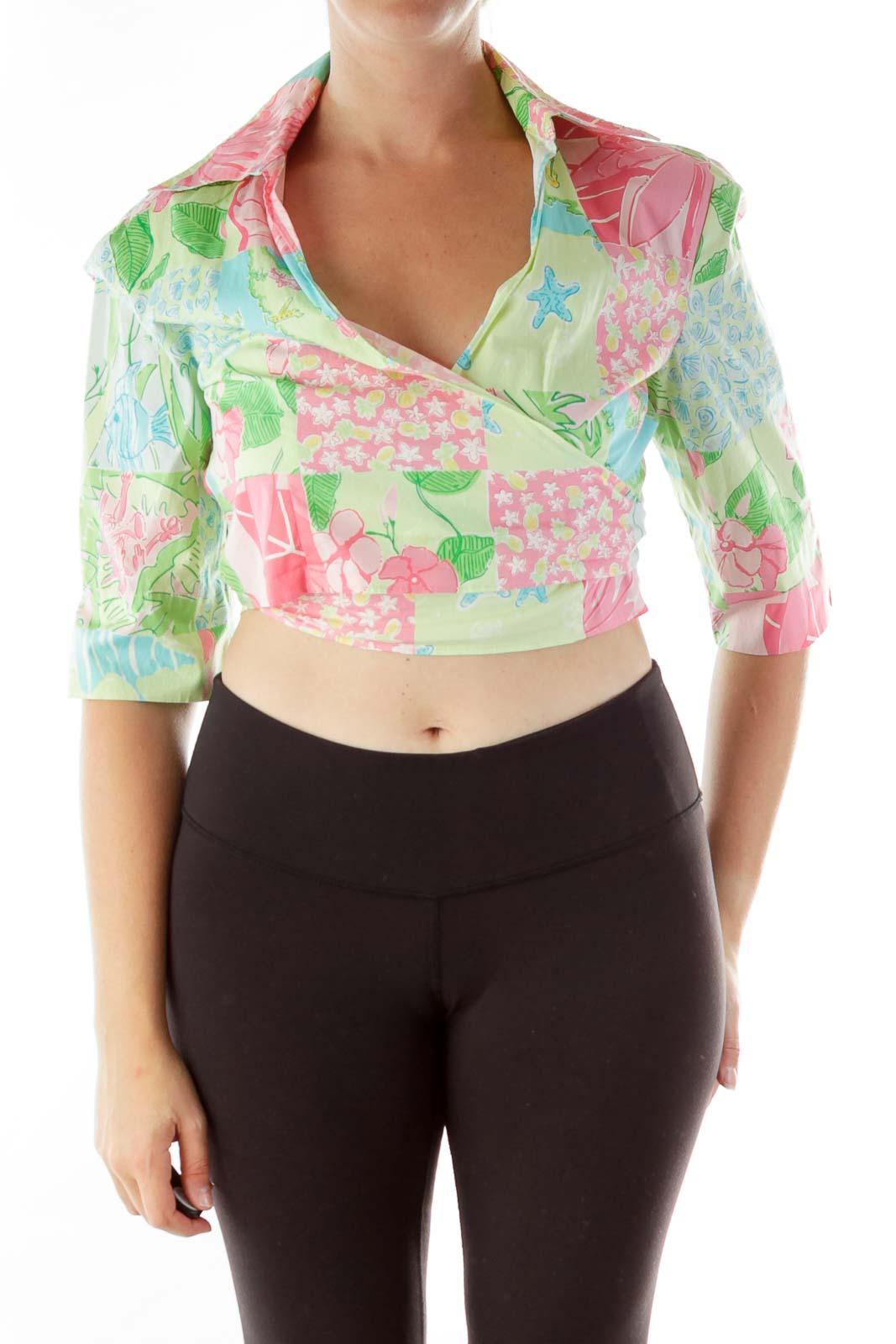 Green Blue Pink Wrap Patchwork Shirt