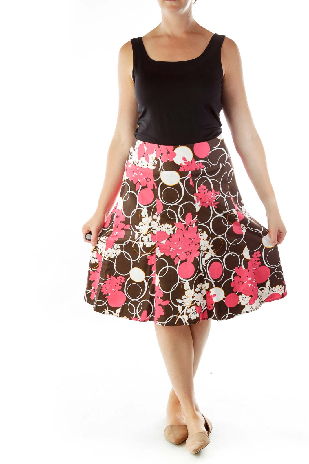 Pink Brown Print Flared Skirt