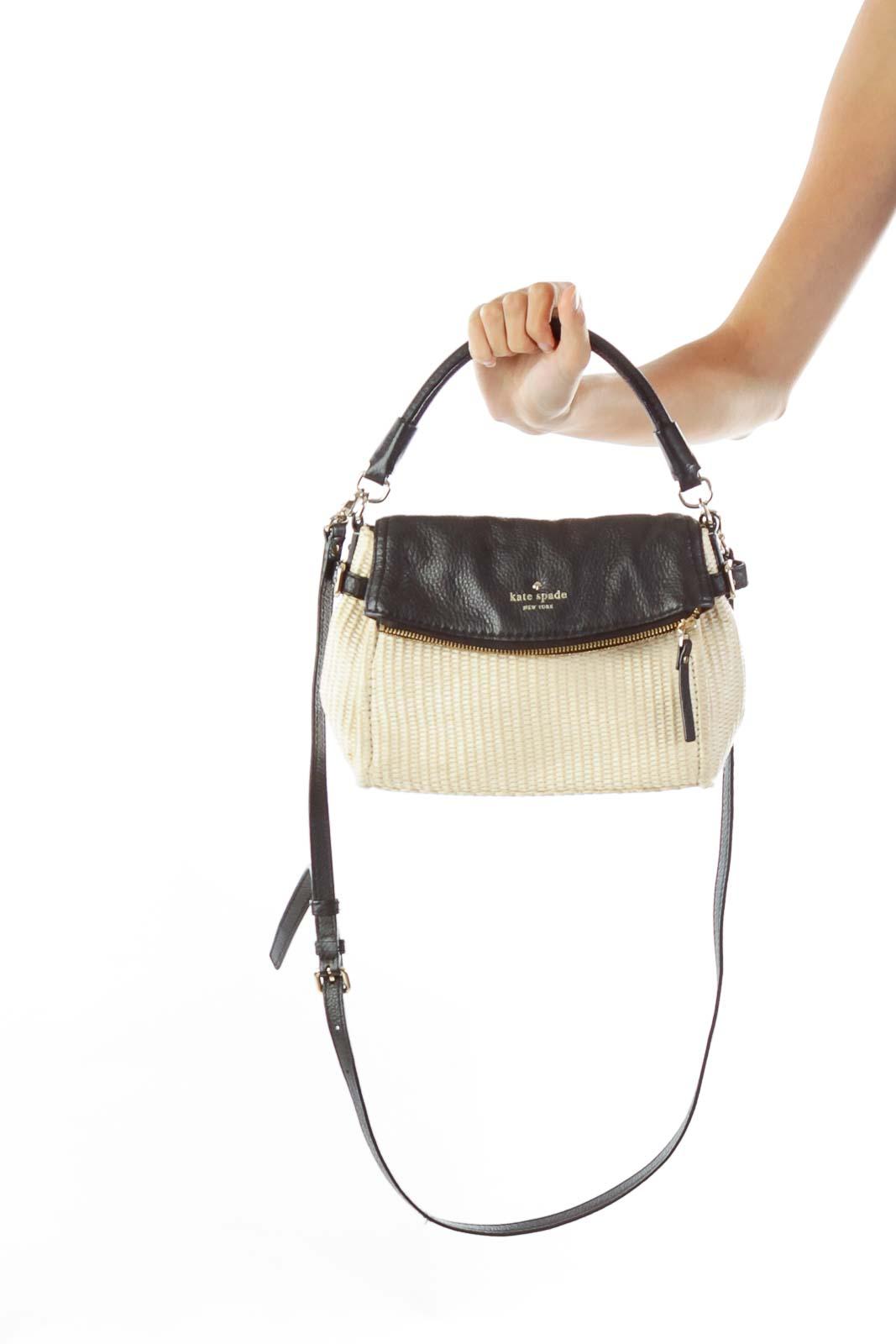 Black Cream Woven Crossbody Bag