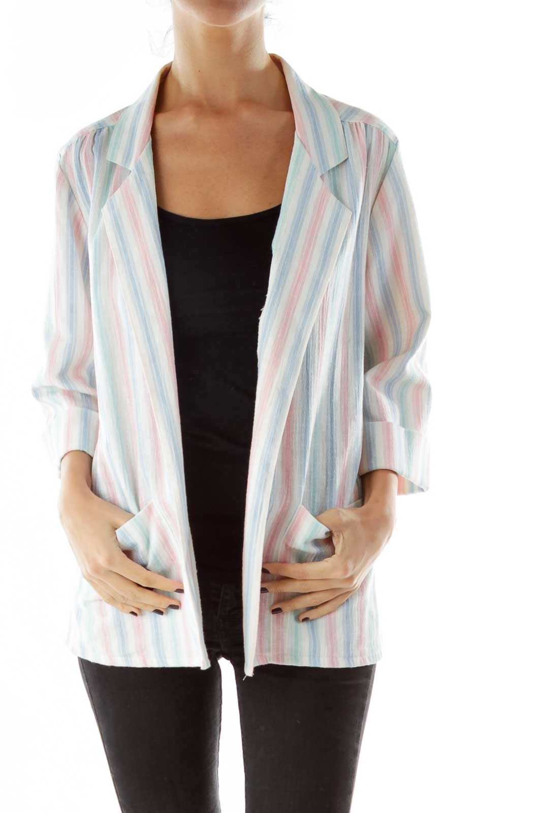 White Pink Blue Striped Jacket