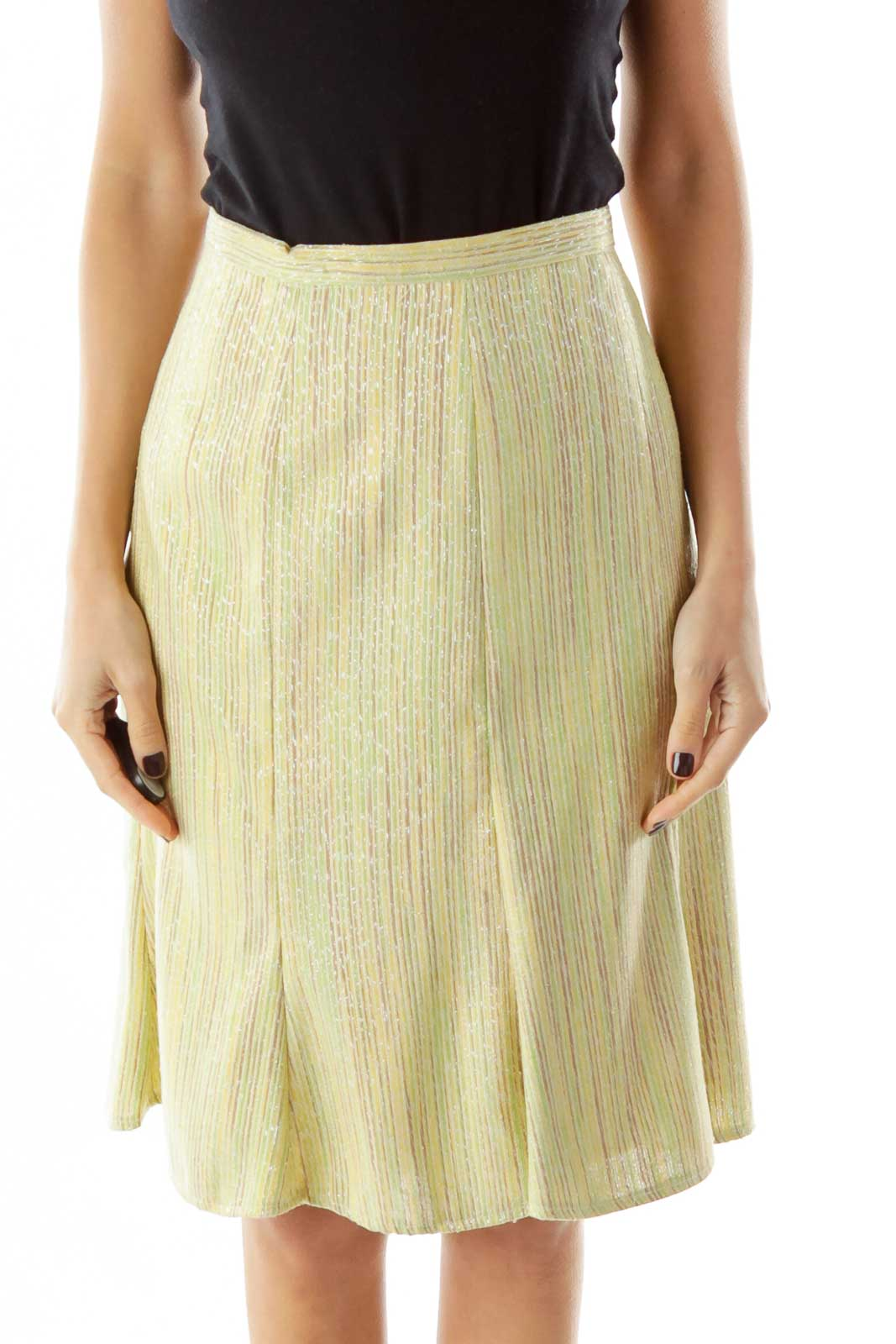 Green Yellow Striped Midi Skirt