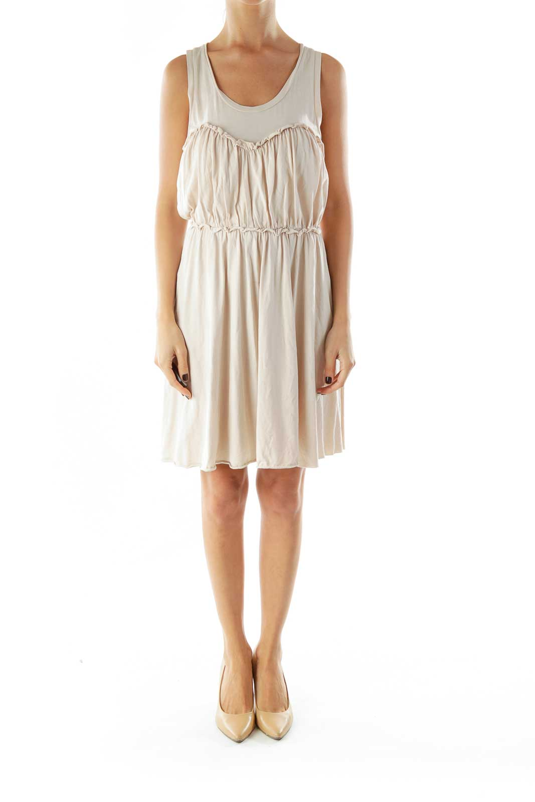 Beige Scrunch Detail Day Dress