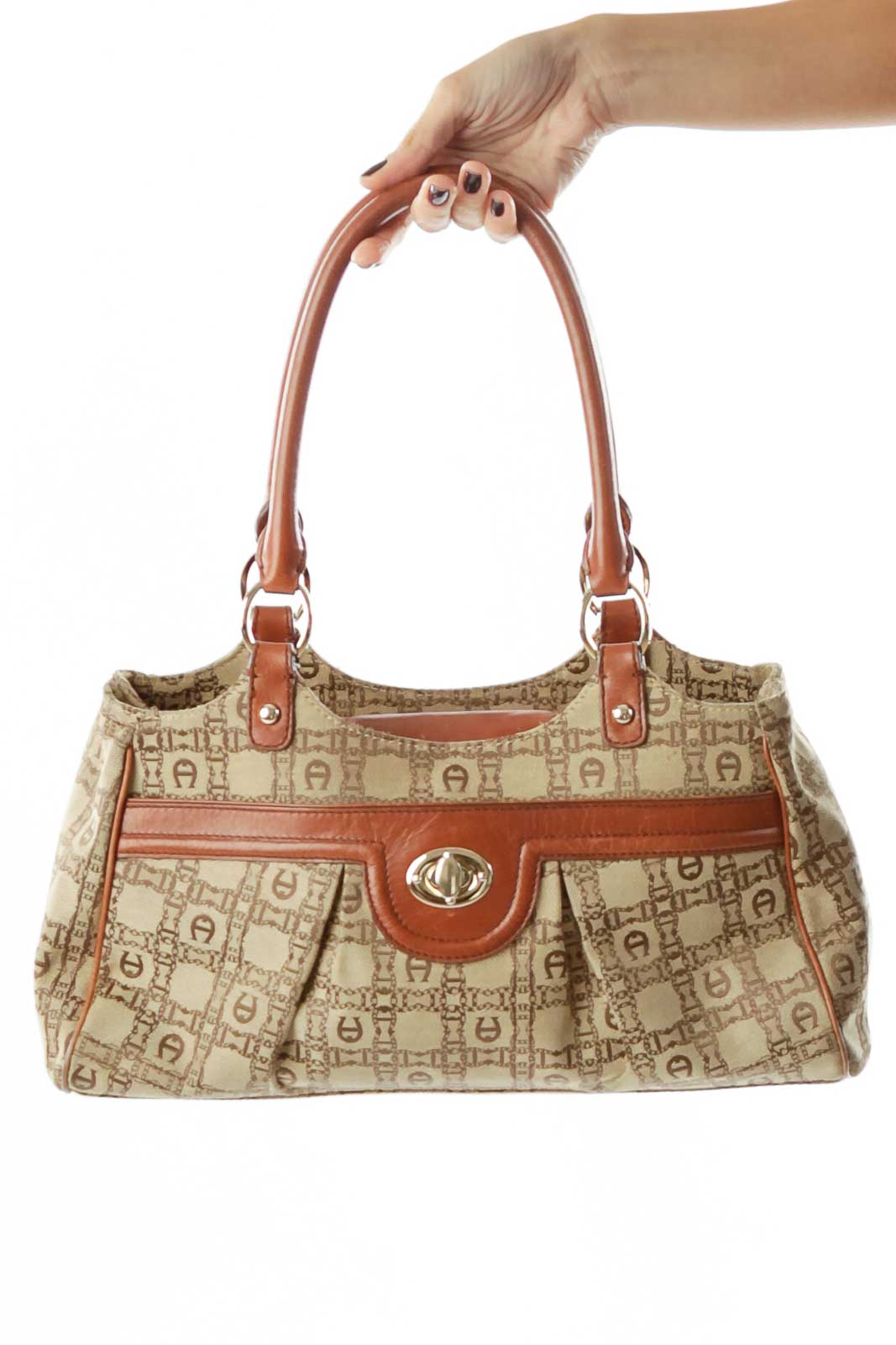 Brown Beige Monogrammed Shoulder Bag
