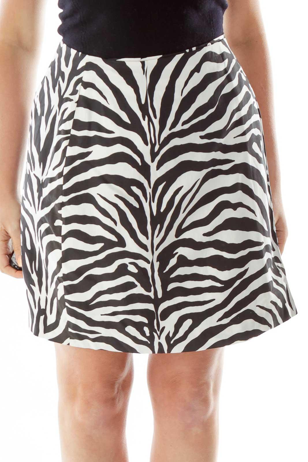 Black White Zebra Wrap Pencil Skirt