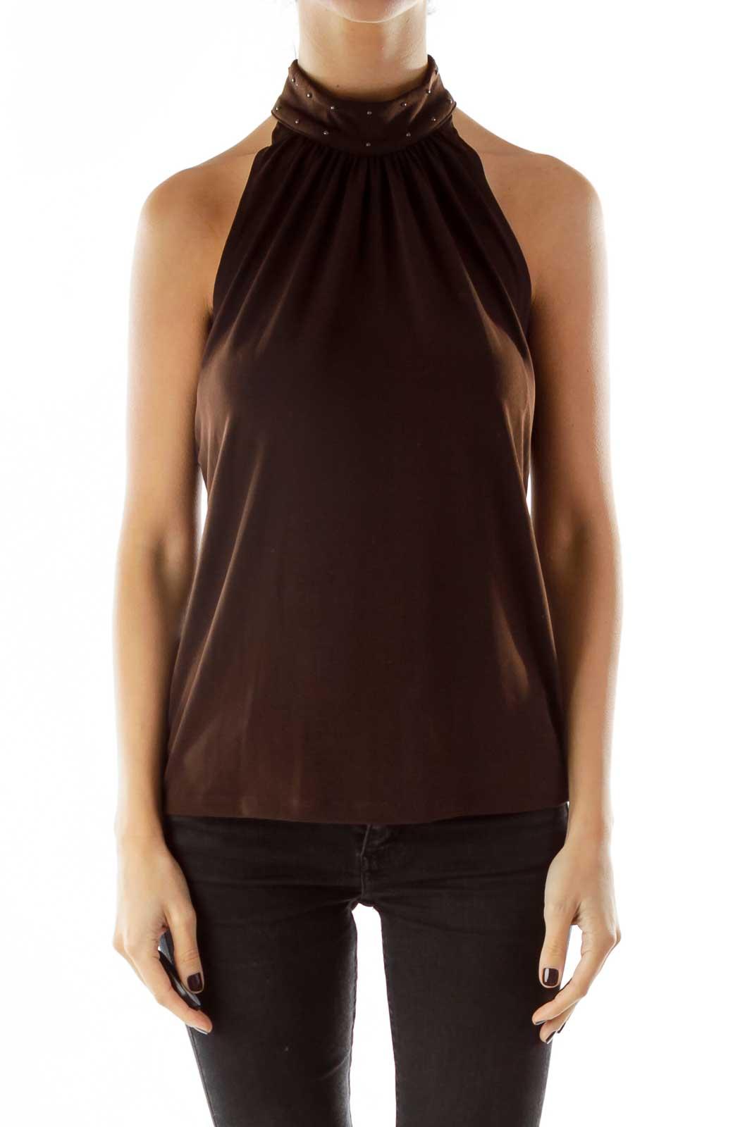 Brown Halter Studded Top