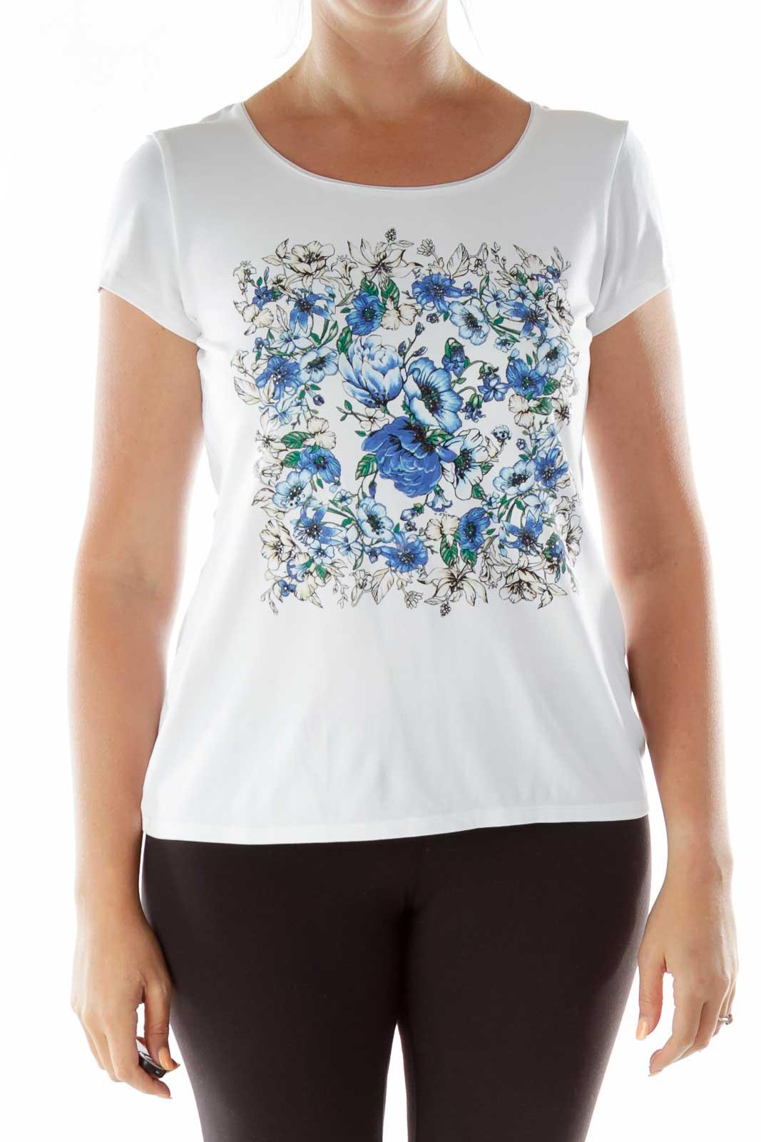 White Blue Flower Studded T-Shirt