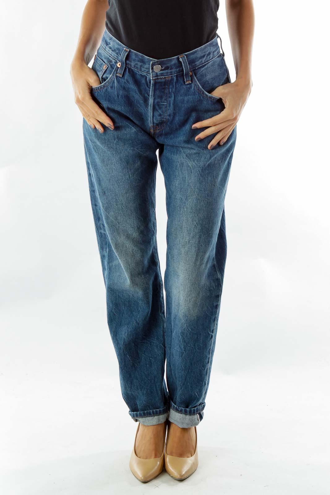 Blue High-Waisted Boyfriend Jeans
