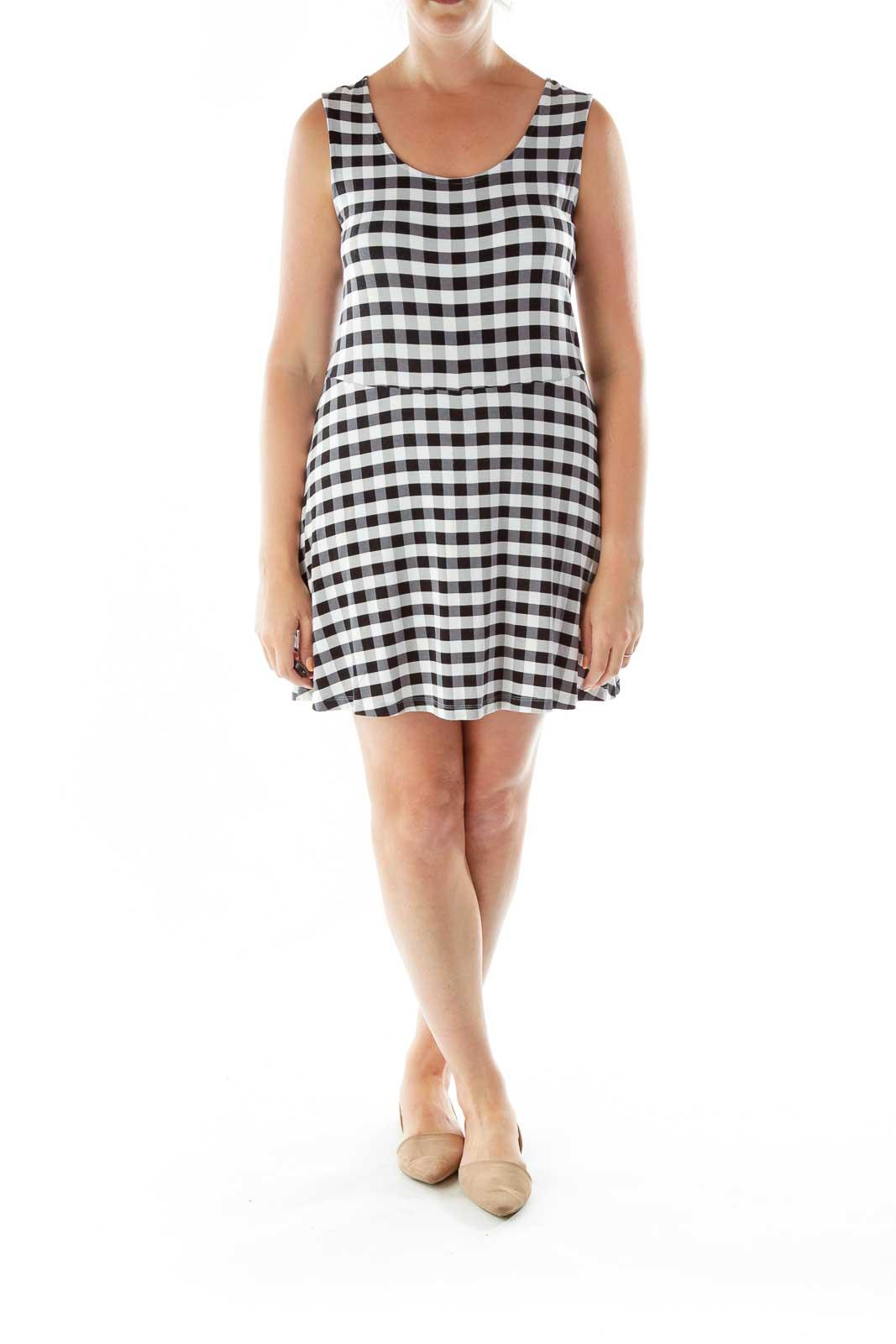 White Black Soft Checkered Dress