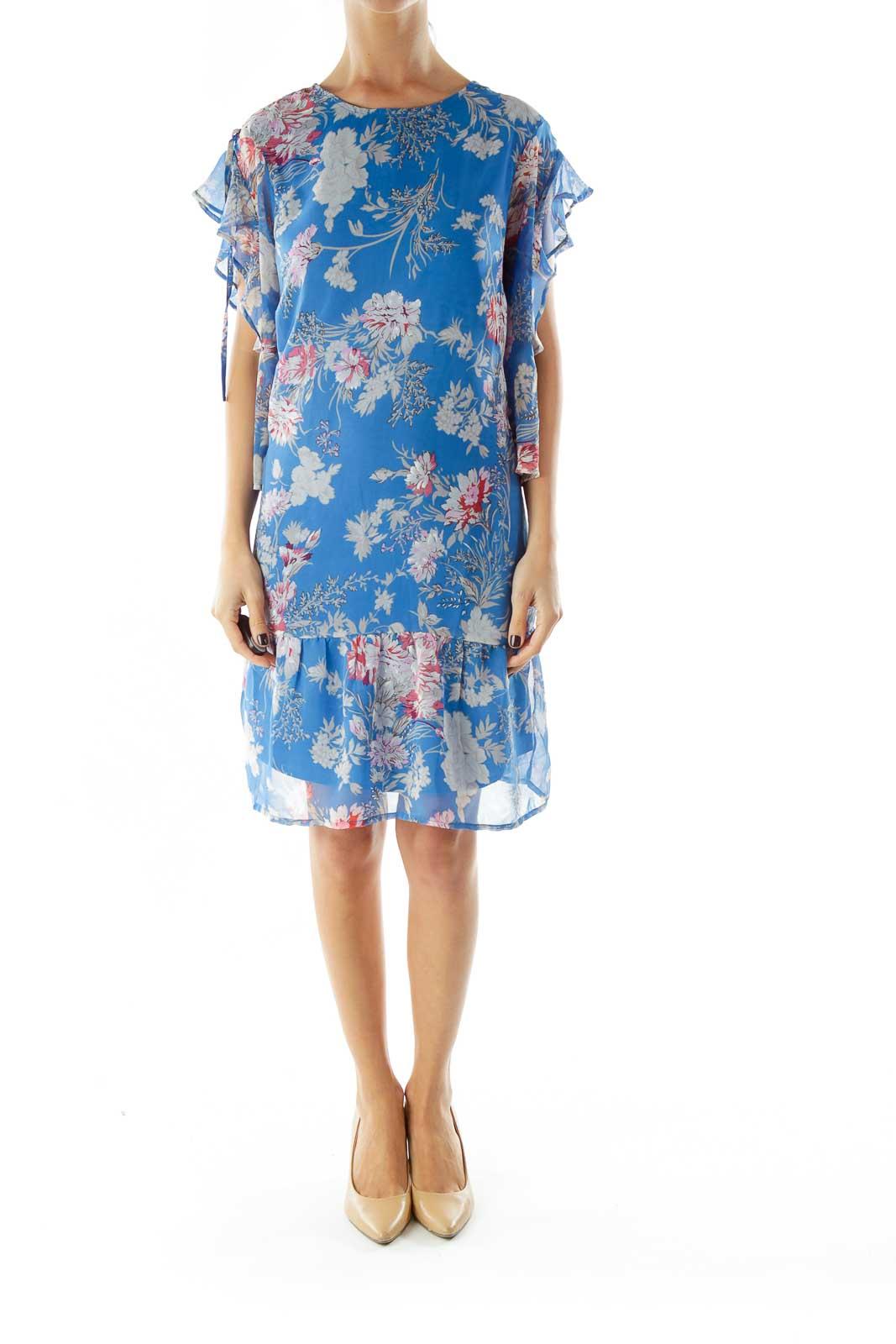 Blue Floral Print Day Dress