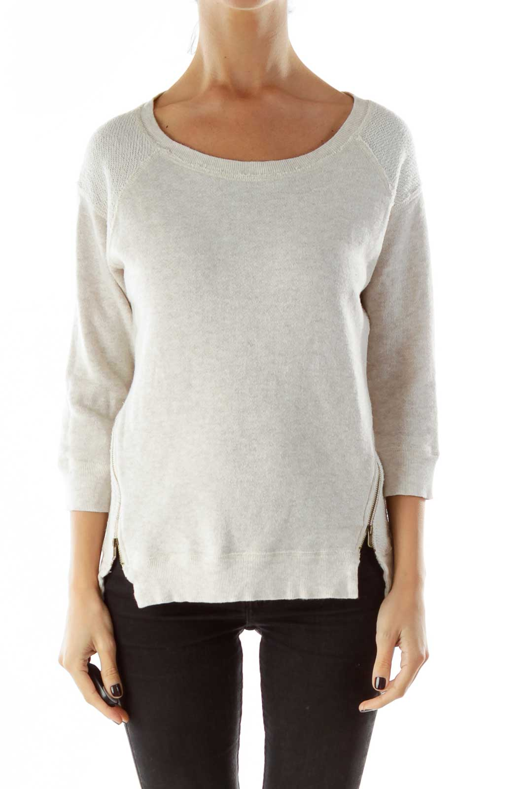 Beige Zippered Sweatshirt