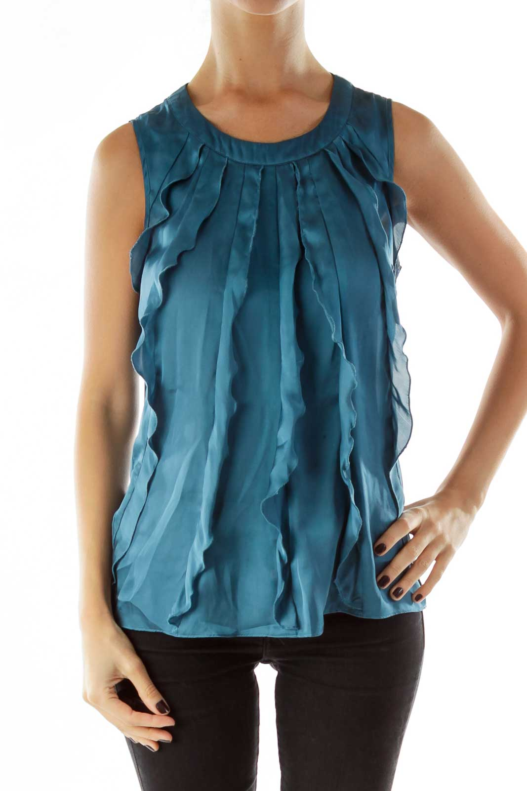 Green Sleeveless Ruffled Blouse
