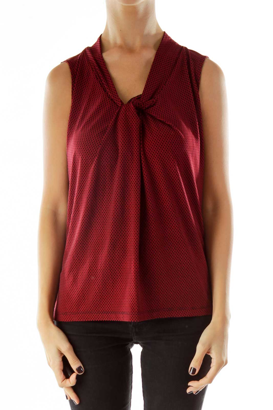 Red Black Knot Geometric Sleeveless Top
