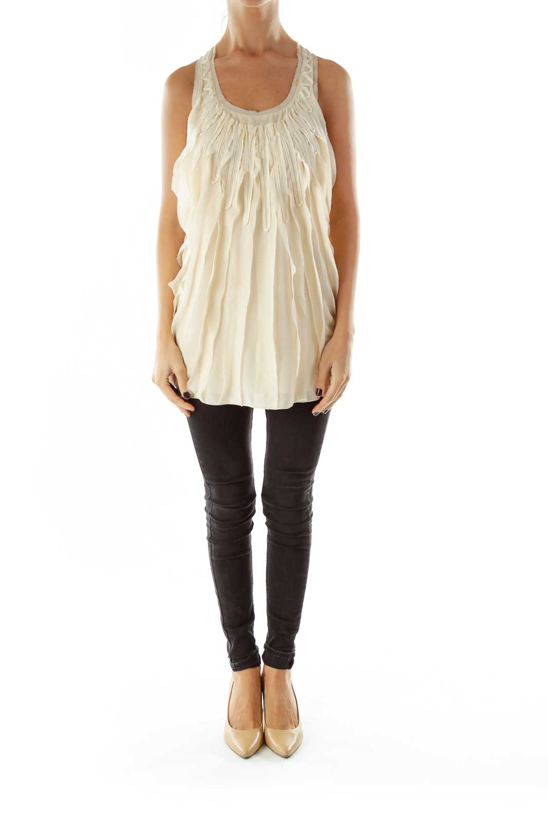 Beige Ruffled Tank Top