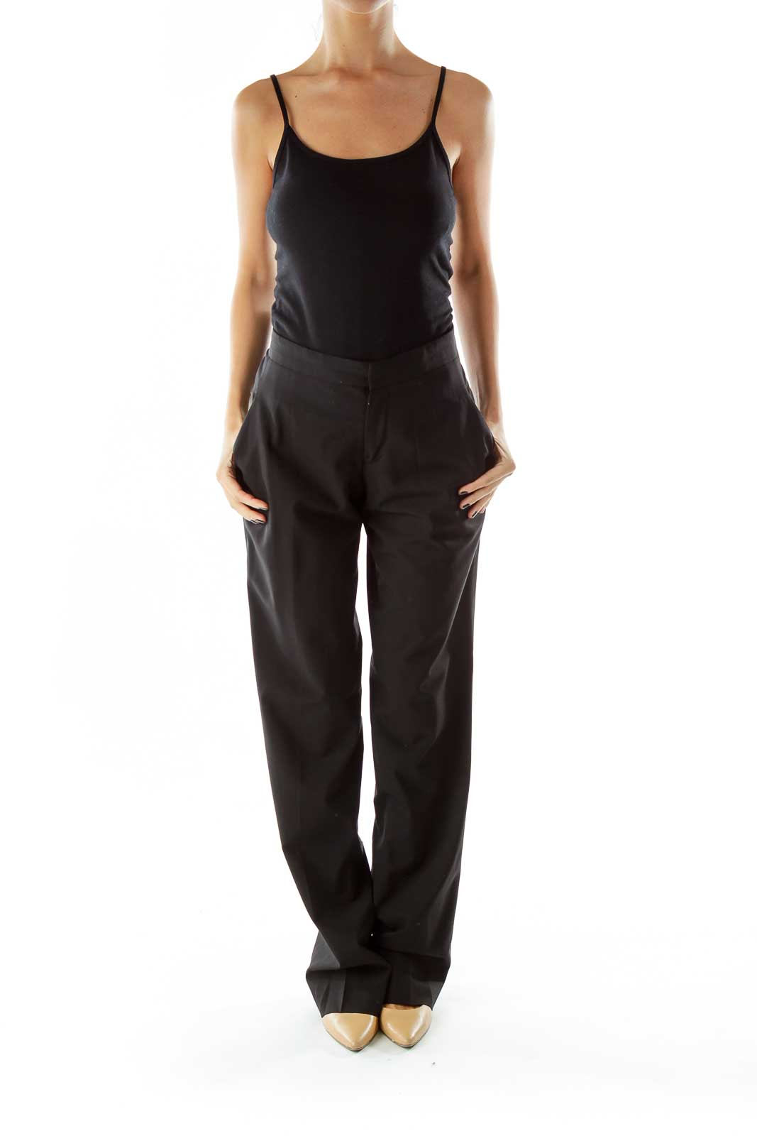 Black Pocketed Straight-Leg Pants