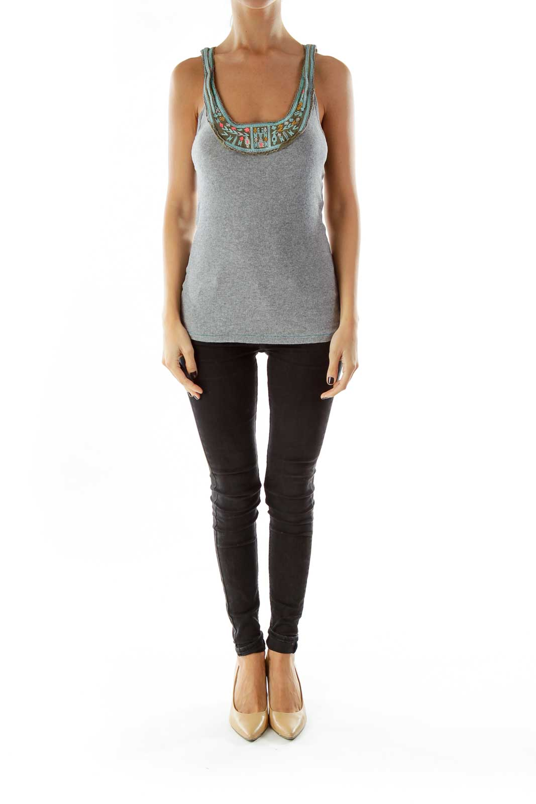 Gray Blue Embroidered Tank Top