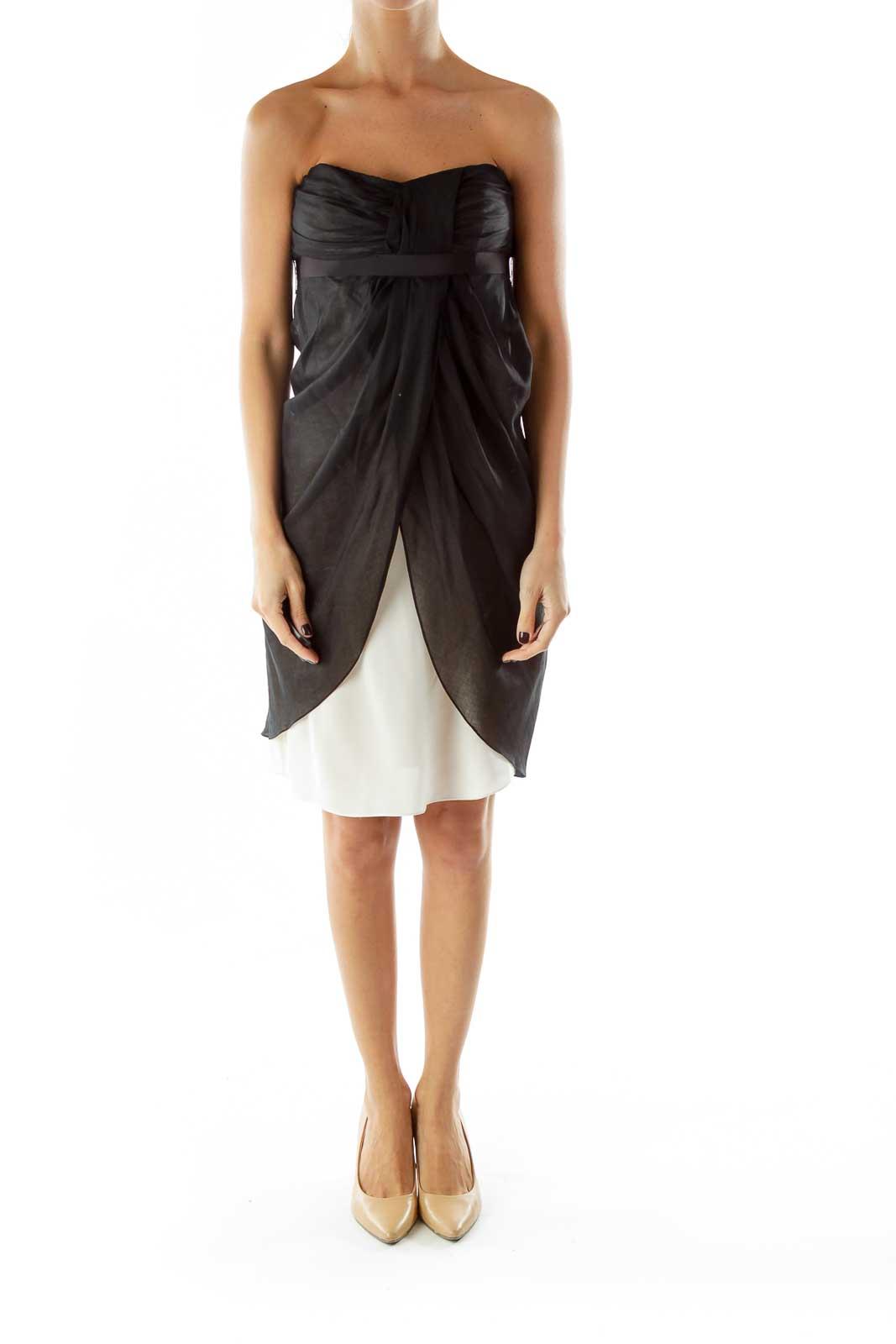 Black White Sheer Strapless Belted Dress
