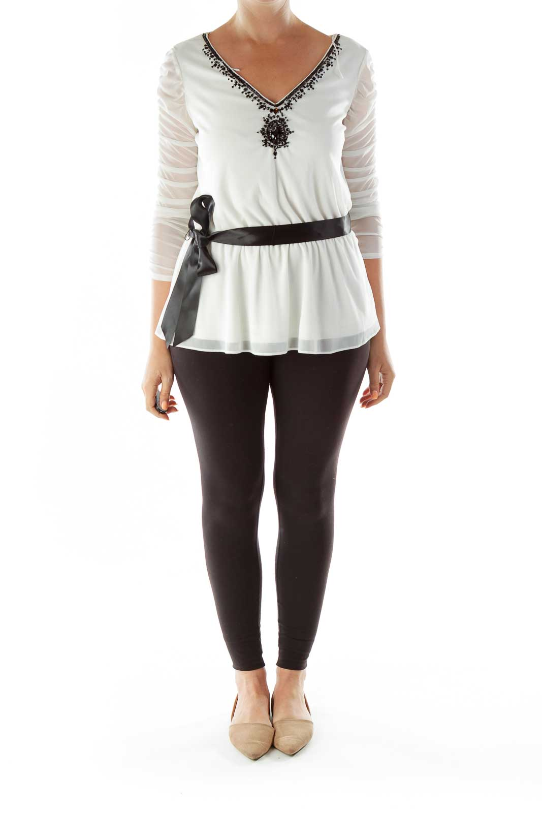 White Black Beaded Belted Sheer Tunic