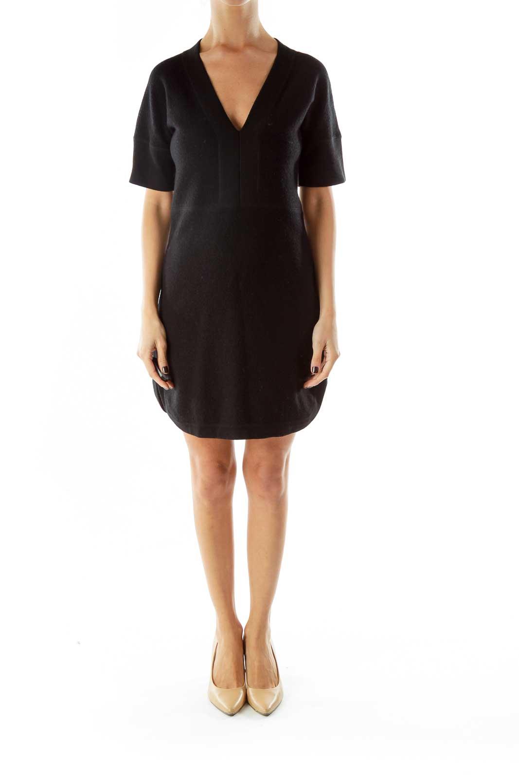 Black Wool Vneck Dress