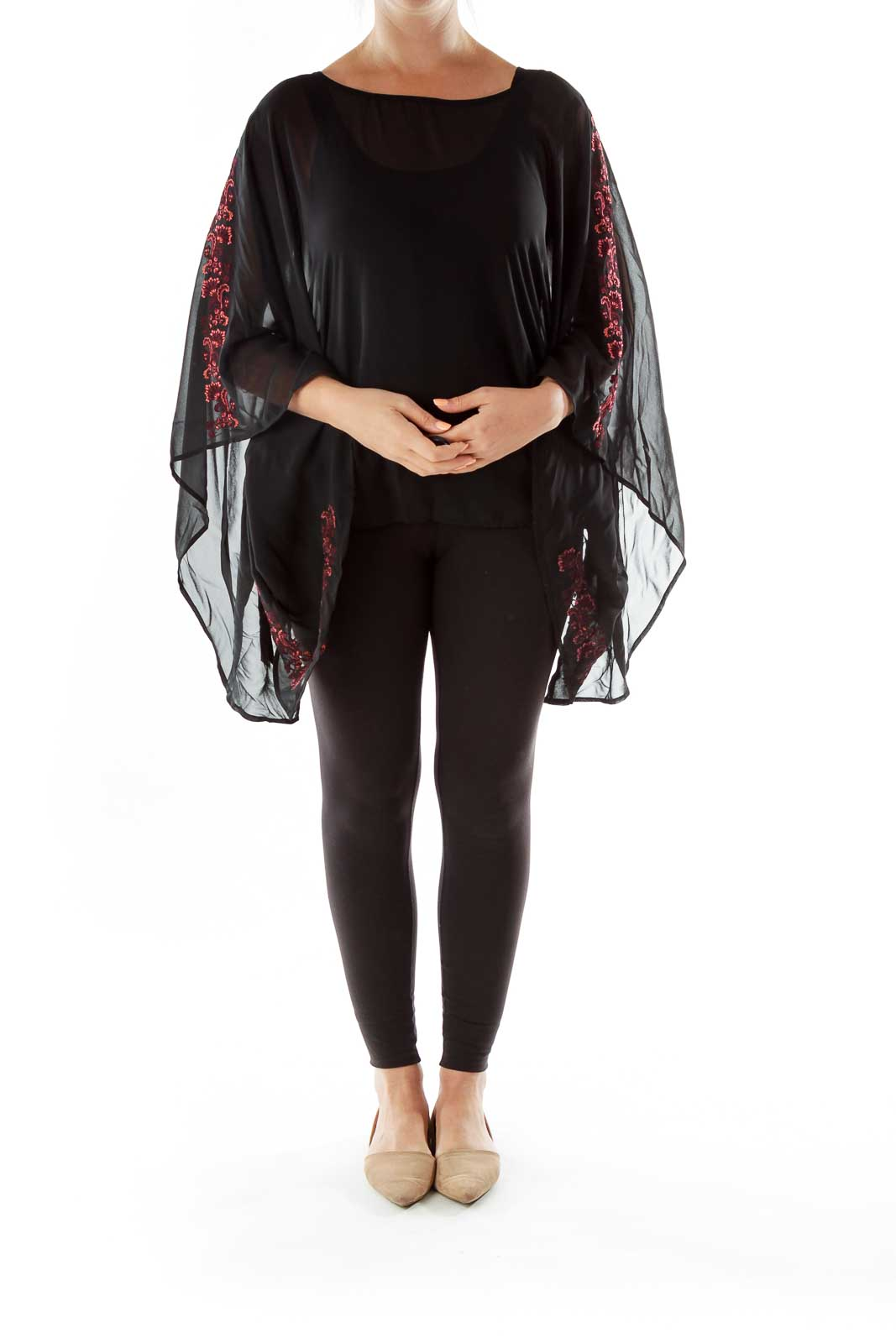 Black Pink Embroidered Poncho