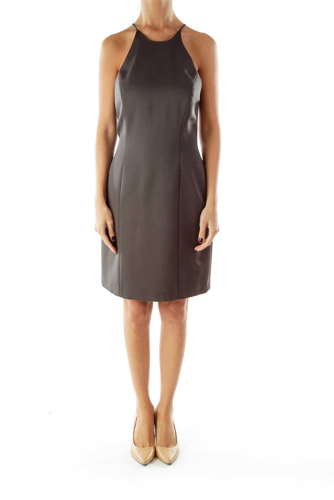 Gray A-Line Spaghetti Strap Cocktail Dress