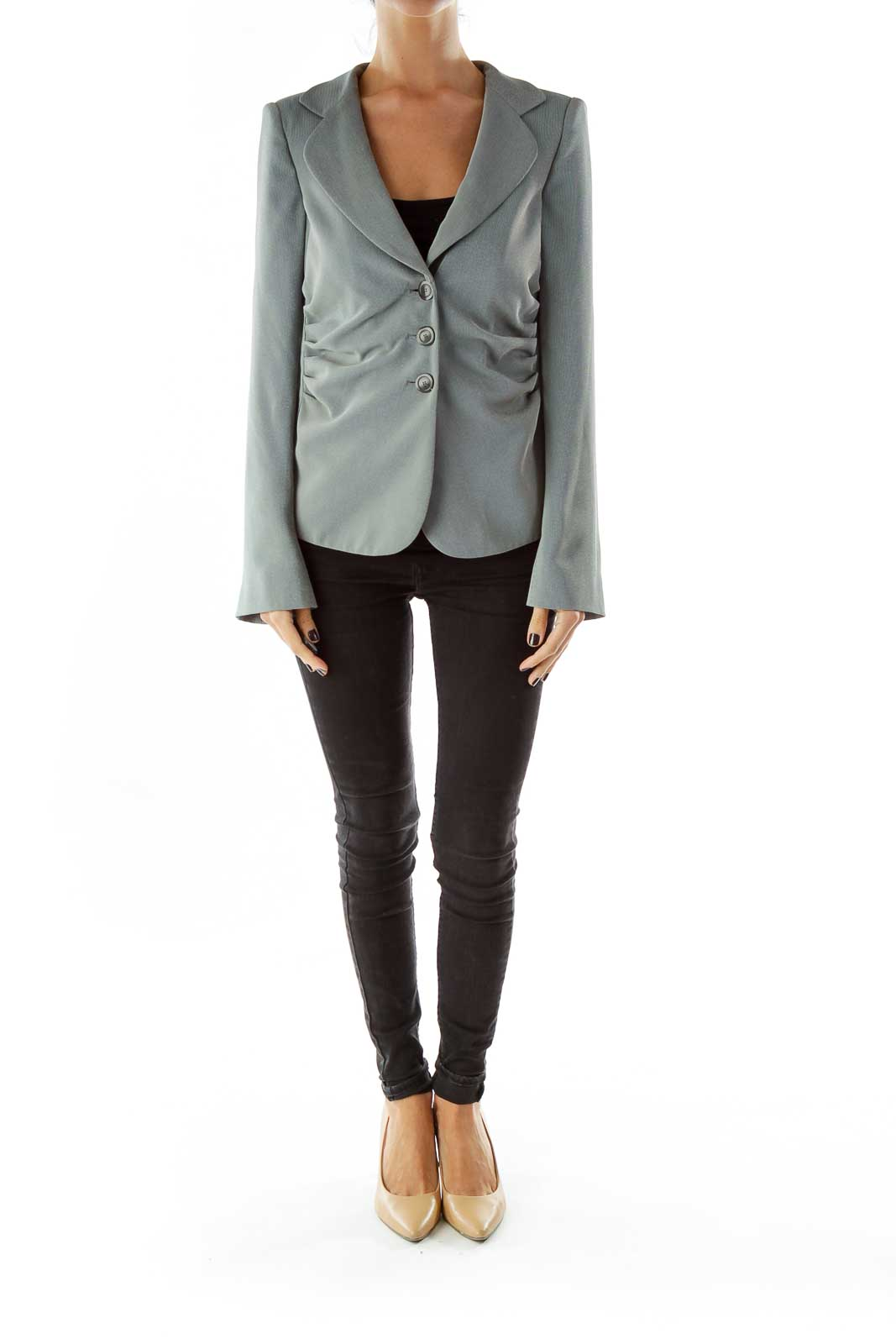 Gray Single-breasted Scrunched Shoulder Pads Blazer