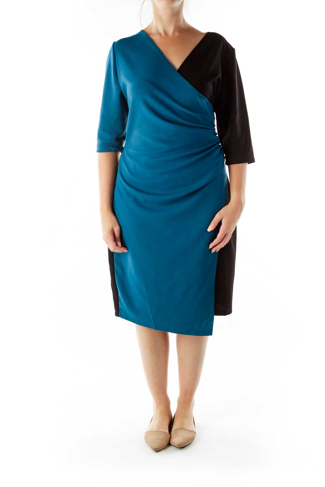 Black Blue Scrunched Wrap Work Dress