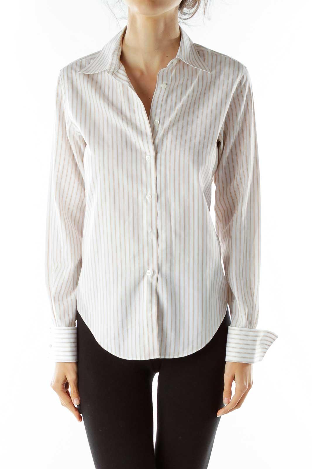 White Beige Striped Shirt