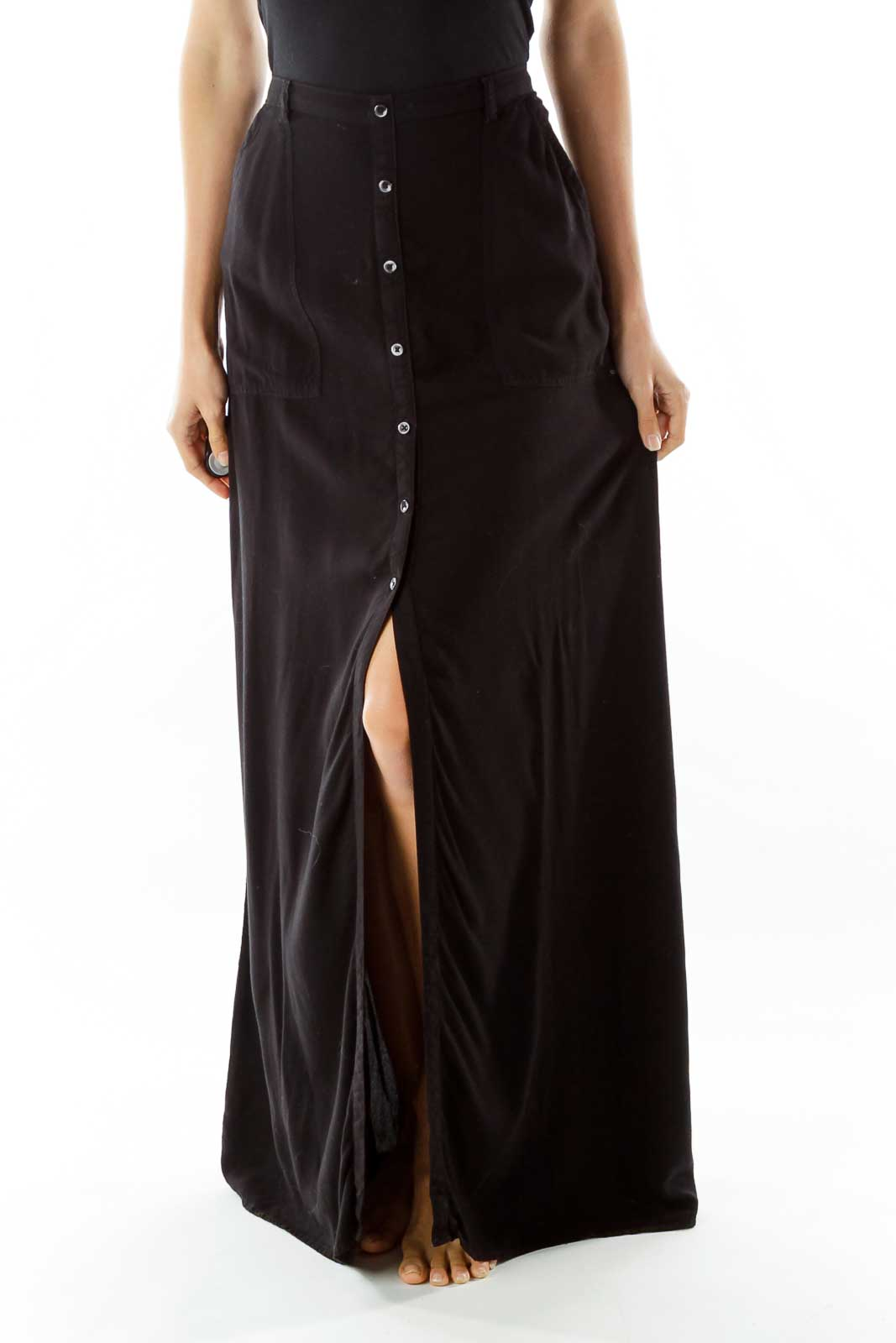 Black Buttoned Maxi Skirt