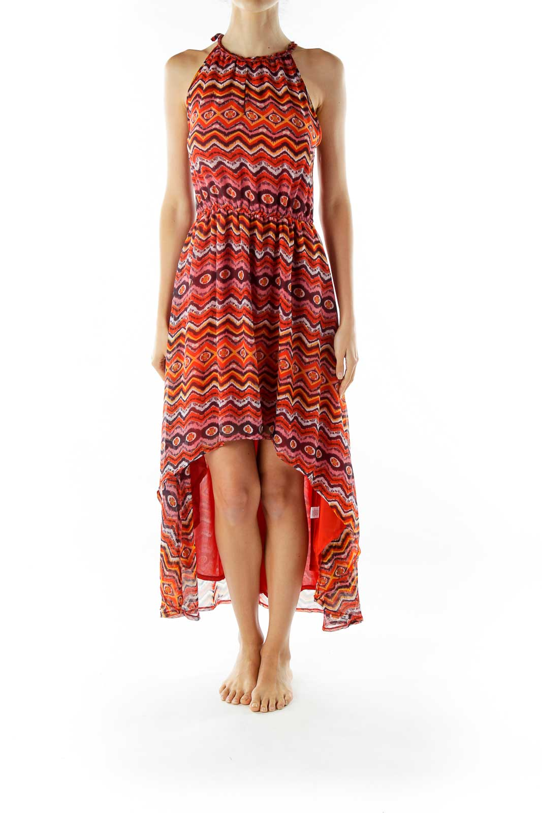 Red Print Sleeveless Day Dress
