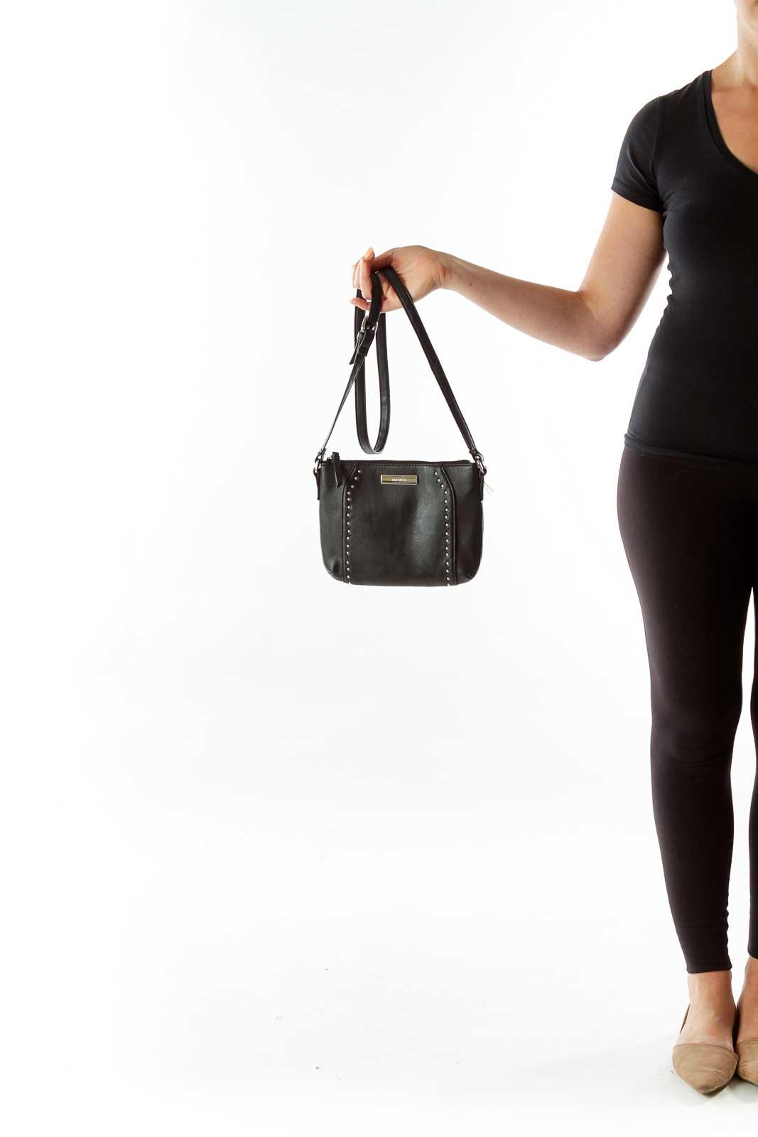 Black Studded Faux-Leather Messenger Bag
